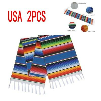 2PCS Table Runners Mexican Serape Tablecloth Festival Party Cotton USA Stock](Serape Tablecloth)