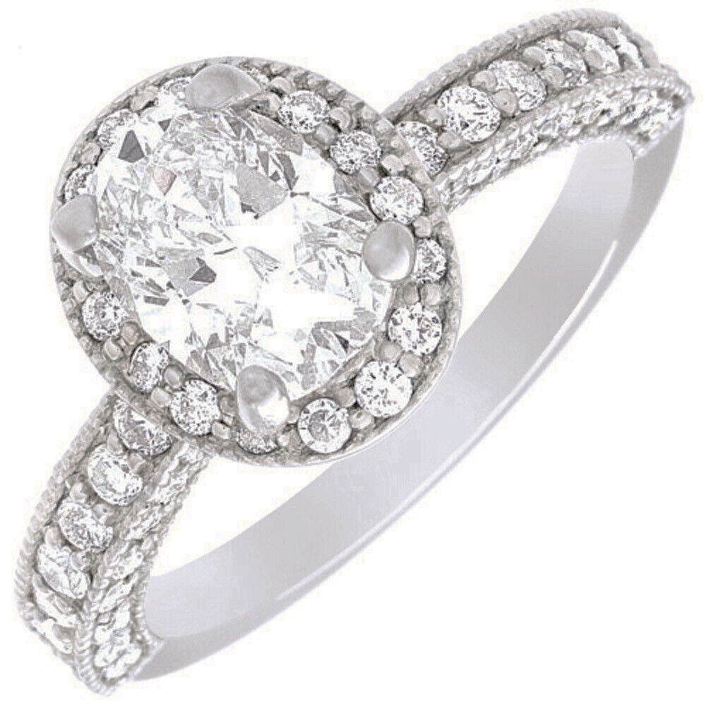 GIA Certified Diamond Engagement Halo Ring 2.41 CTW Oval Shape 18k White Gold