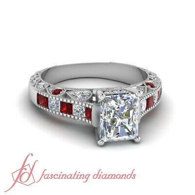 1.40 Ct Radiant Cut Diamond & Red Ruby Vintage Engagement Ring Channel Set GIA