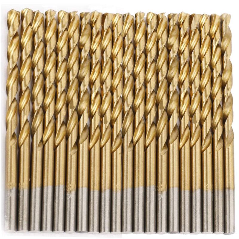 """Drillforce 20PCS 1/8"""" Titanium Drill Bits Set HSS Jobber Metal Wood Drill Bit"""