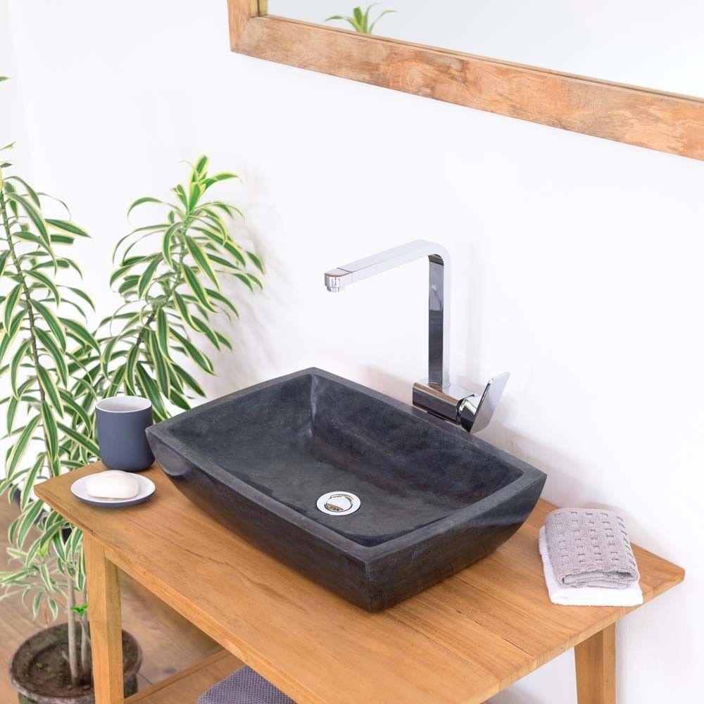 wohnfreuden Naturstein Waschbecken 50cm Marmor Aufsatz-Waschschale anthrazit