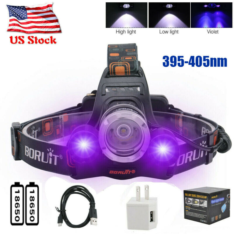 90000lm UV 395nm Headlamp 3XLED Head Torch Ultraviolet Light 2X18650 Headlight