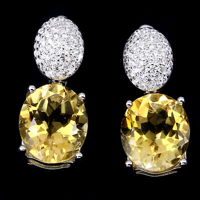 Genuine Oval 12x10mm Yellow Citrine & Pave Cz  Sterling Silver Hoop Earrings