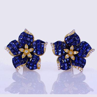 Diamond Sapphire Floral Earrings (7.60CT Sapphire and Diamond Floral Earrings 18K Yellow Gold)
