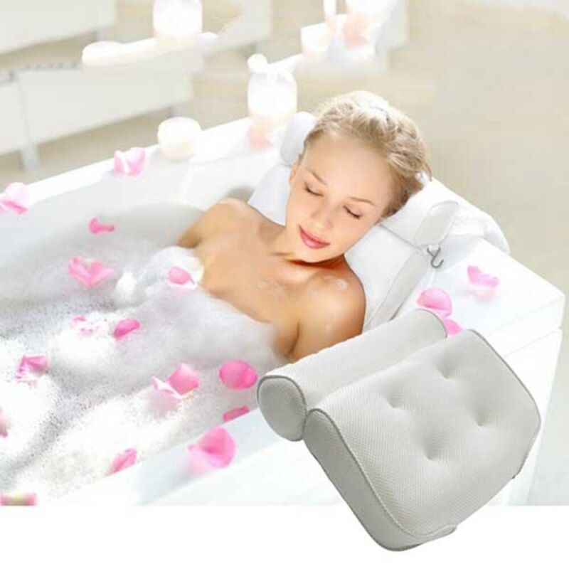 Home with Suction Cups Head Rest Bath Pillow Tub Accersories