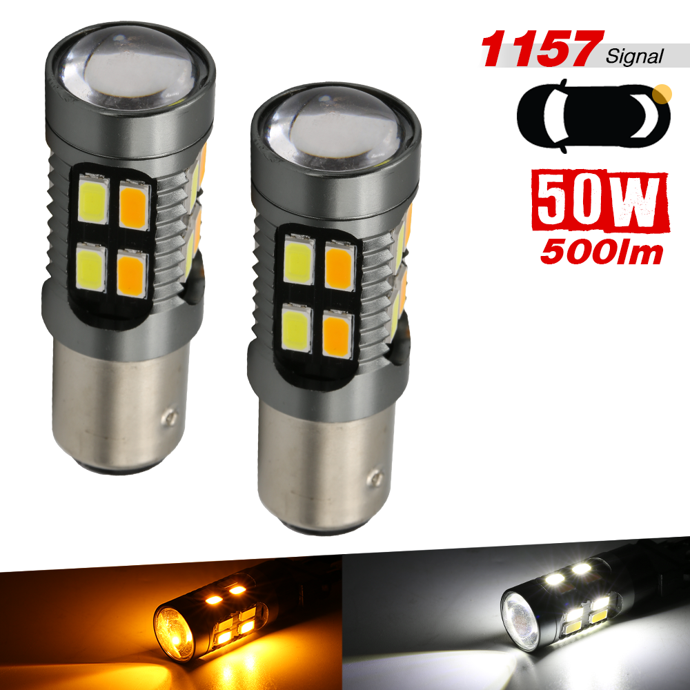 LED Switchback Light 3030 White Amber 1157 Two Bulbs Front Turn Signal Upgrade