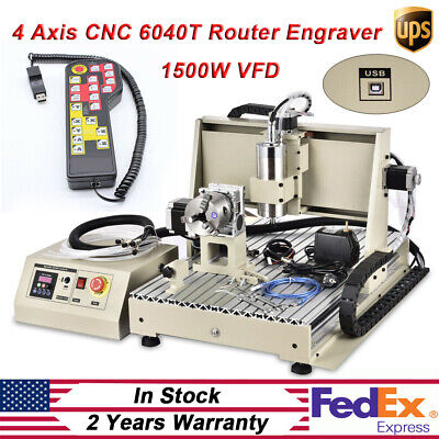 Cnc 6040t 4 Axis 1500w Router Usb Engraving Diy Cuttingmilling Machine Kit Rc