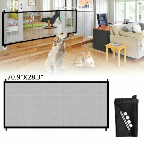 Baby Pets Dog Door Safety Gate Mesh Fence Home Kitchen Net Portable Guard Indoor