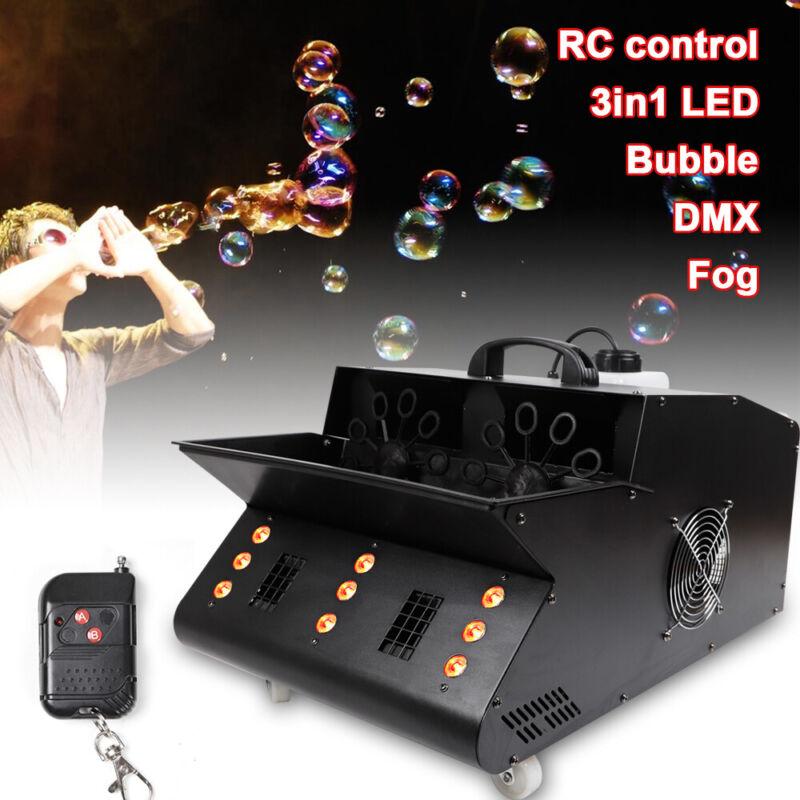 LED Stage Effect Light RGB Fog Smoke Bubble Machine DJ Stage W/Remote Controller
