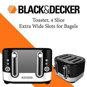 BLACK+DECKER Toaster, 4 Slice Extra Wide Slots for Bagels, Black, TR4200SBD Condtion: Lightly used, Black , 4 Slice