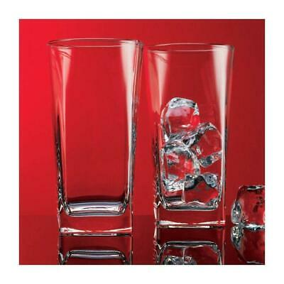 Red Series 16 oz Square Highball Beverage Drinking Glasses (Set of 8) (Highball Beverage Glasses)