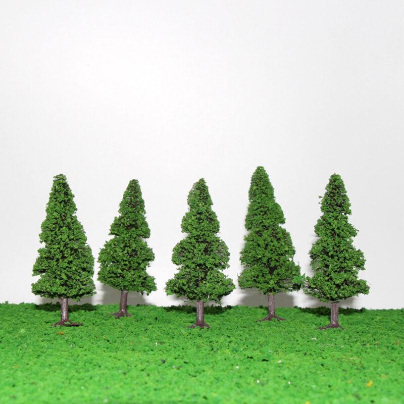 S0405 10pcs 9cm Model Train 1:87 Pine Trees Railroad Scenery Layout TT HO Scale