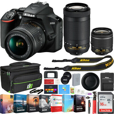 D3500 Nikon 24.2MP DSLR Camera w/ 18-55mm & 70-300mm Lens + 16GB Bundle