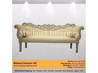NEW Berlin Wedding Chaise Sofa - Ivory - Luxury Asian French Italian Gilded Gothic Antique Ornate