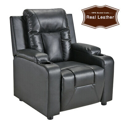 Luxury Faux Leather Recliner Sofa Armchair Chair with 2 Drink Holders Furniture