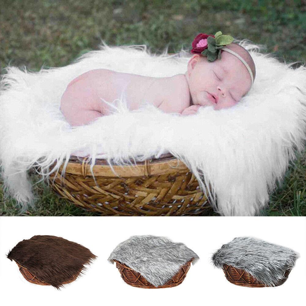 Newborn Baby Photo Props Backdrop Photography Soft Fur Quilt Mat Blanket Rug UK