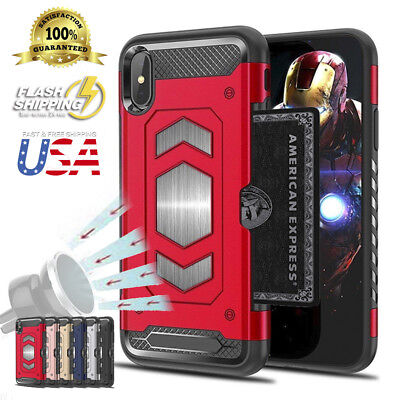 Fits iPhone Heavy Duty Body Armor Protector Slim Card Holder Magnetic Case (Slim Metal Body)