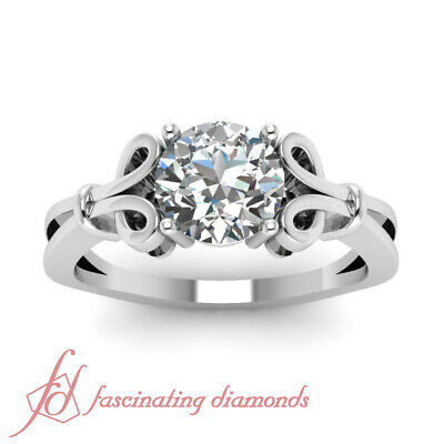 Solitaire Womens Gold Engagement Ring 1.75 Ct Round Very Good Cut Diamond GIA 1