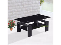 Designer Side Table Black Tempered Glass With Chrome Legs Coffee table Modern