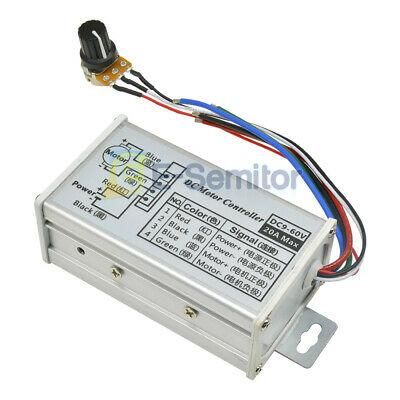 Dc 9v-60v 20a Pwm Motor Stepless Speed Controller Switch Reversible Pulse Driver