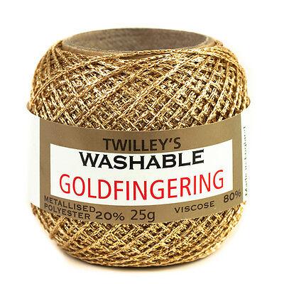 Twilleys Goldfingering Metallisierte Polyester 5 Anzahl Häkeln Handwerk Yarn 25g