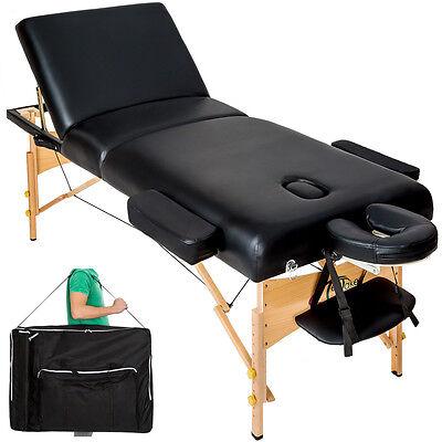 Premium Massagetisch Massageliege Massagebank 10 cm Polsterung +Tasche schwarz