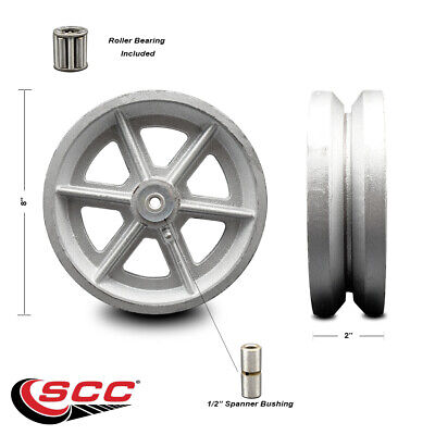 Scc -8 Semi Steel Cast Iron V-groove Wheel Only Wroller Bearing- 1400 Lbs Cpty