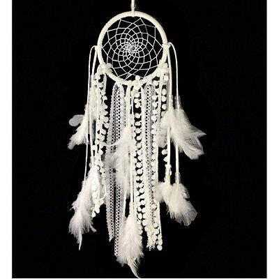 Dremisland Dream catcher Handmade Traditional White Feather Wall Hanging Car...