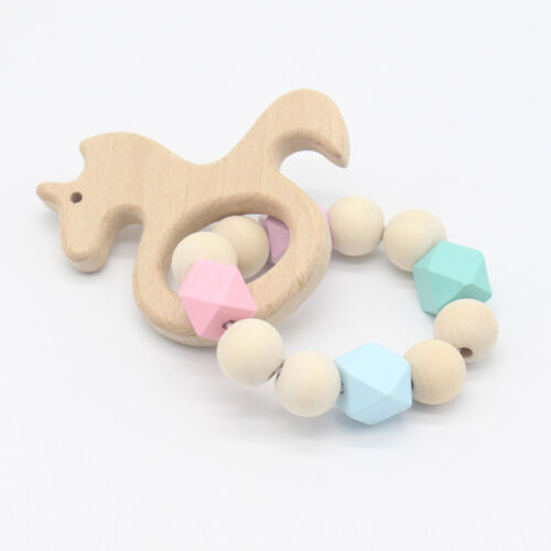 Wooden Crochet Baby Natural Teether Infant Teething Ring Bra