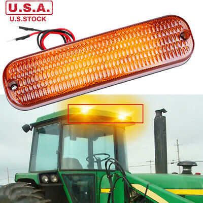 1x Amber Led Cab Roof Warning Flashing Light Bar For John Deere Tractors Ar60250