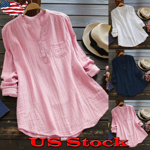 Womens Top Solid Causal Long Sleeve V Neck A-Line Tunic Blou
