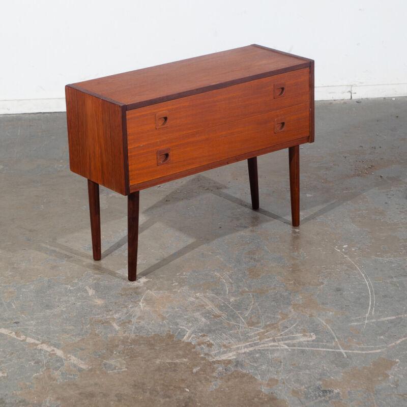 Mid Century Danish Modern End Table Side Entryway Solid Teak 2 Drawers Wood Mcm