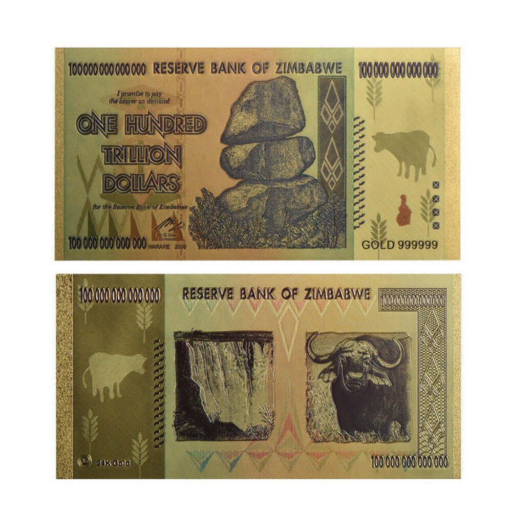Details About 1x Zimbabwe 100 Trillion Banknote Gold Bill World Money Value Collection Gift