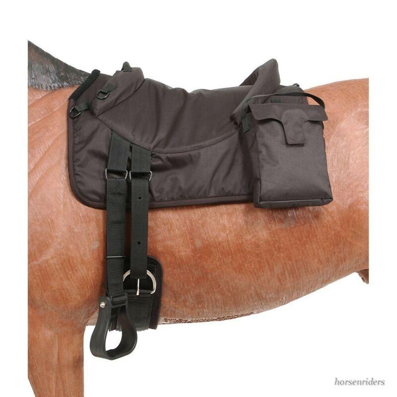 Bareback Riding Pad - Removable Saddle Bags - Neoprene Girth - Black or Brown