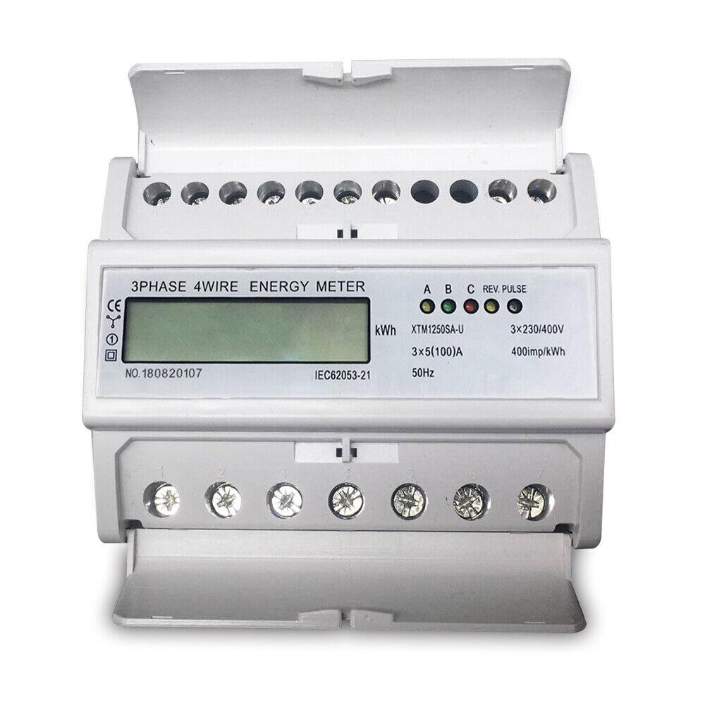 80 A Stromzähler LCD Drehstromzähler Geeicht Für DIN Hutschiene 3x230//400V 5
