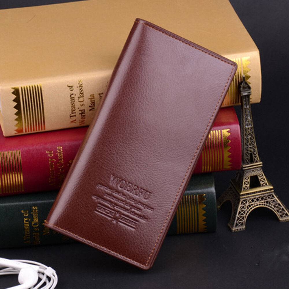 Mens Leather Long Wallet Bifold ID Card Holder Checkbook Clutch Purse Handbag