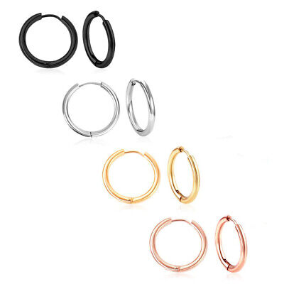 Women Men Stainless Steel Hoop Earrings Jewelry Huggie Ear Ring Clip Siver Gold