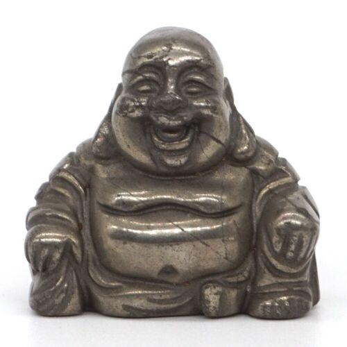"1.1"" Maitreya Buddha Natural Gemstone Pyrite Crystal Carved Lucky Reiki Figurine"