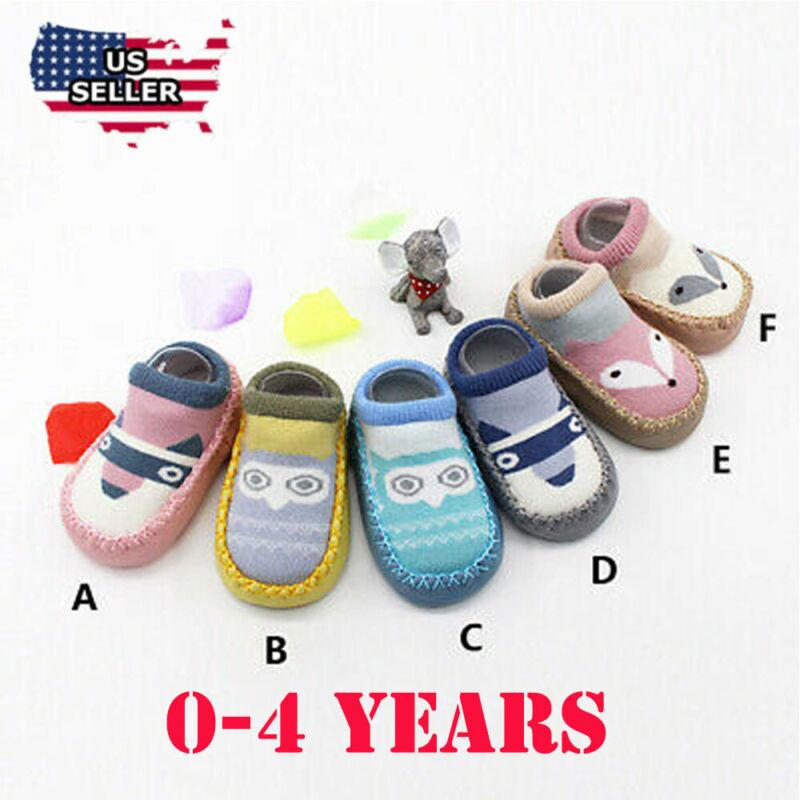 Baby Kids Girls Boys Cartoon Print Shoes Infant Anti-Slip So