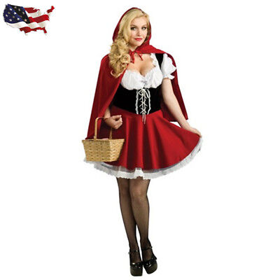 US Little Red Riding Hood Costume Women Halloween Cosplay Outfit S-6XL
