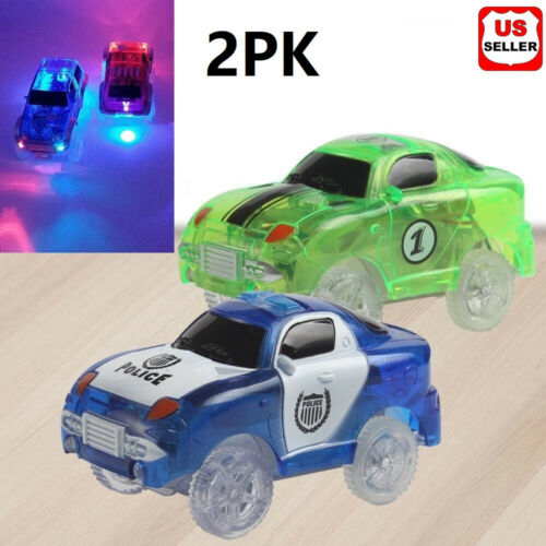 2PK Cars for Magic Tracks Glow in the Dark Race track LED Light Up Replacement Classic Toys