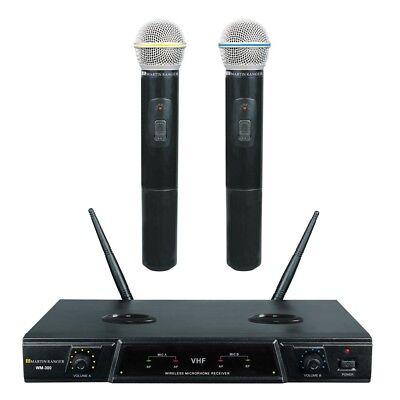 VHF Dual channel Rechargeable Karaoke Wireless Microphone WM 300 (New)
