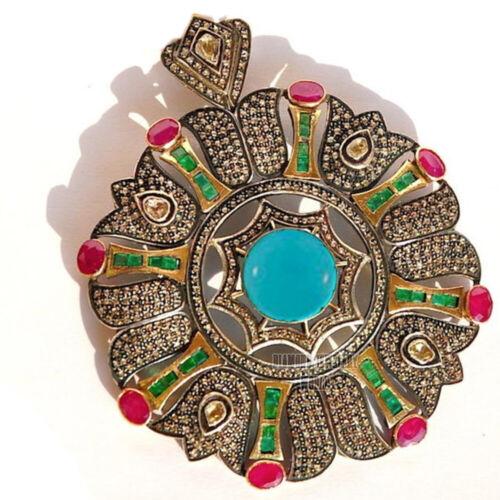 Vintage 5.90cts Rose Antique Cut Diamond Gemstone Studded Silver Pendant Jewelry