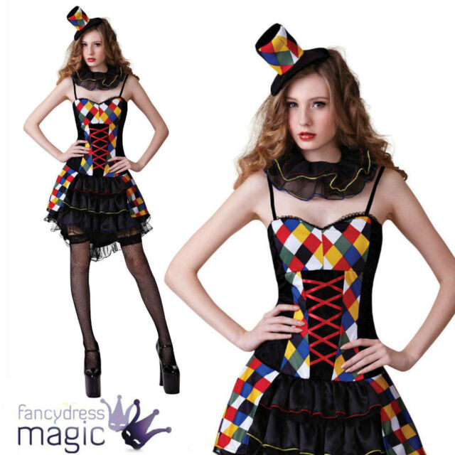Ladies Halloween Sexy Harlequin Carnival Clown Jester Fancy Dress Costume Outfit