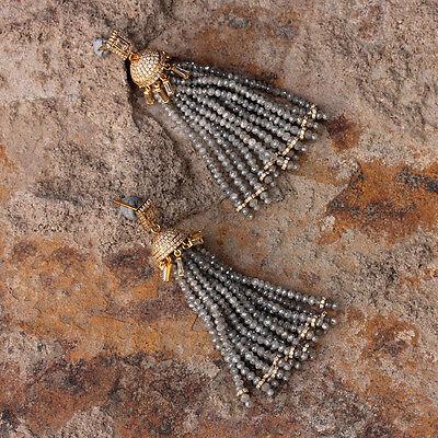 Real Diamond Tassel Dangle/Drop Earrings Fashion Jewelry 18k Solid Yellow Gold