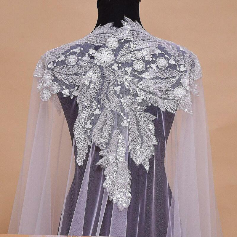 Bridal Shawl Wedding Cape Dress 3M Long Chapel Jacket Applique Bride Accessories