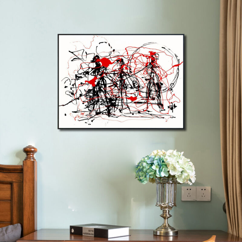 "Framed Canvas Abstract Series#6 by Jackson Pollock Giclee Print Art 24""x32"""