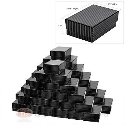 50 Black Pinstripe Cotton Filled Jewelry Gift Boxes 2 58 X 1 12