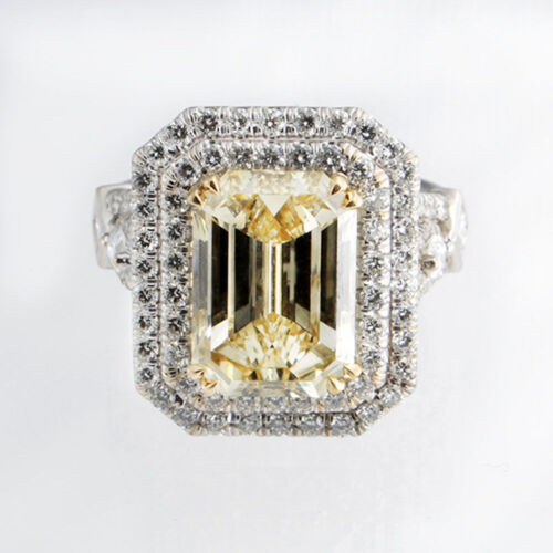 Fancy Yellow Stunning GIA 4.00 Carat Emerald Cut Diamond Engagement in Platinum