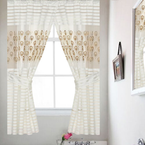 Popular Bath Seraphina Bathroom Window Curtain Set 54″L x 36″W Beige/Gold Curtains & Drapes